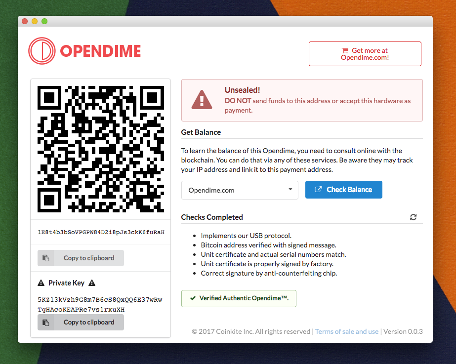 Opendime Chrome App